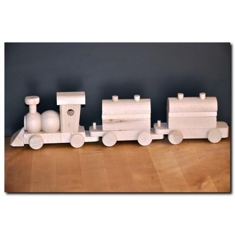 Drewniana kolejka - wagoniki z klockami