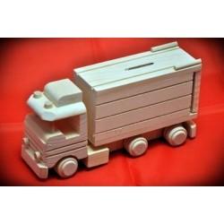 Drewniana ciężarówka - skarbonka