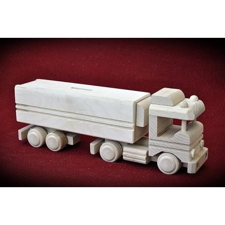 Drewniana ciężarówka TIR - skarbonka