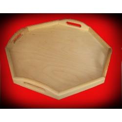 Drewniana taca ośmiokątna duża.