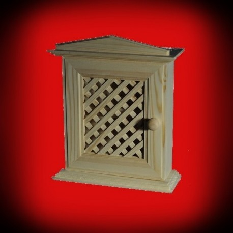 Drewniany domek - szafka na klucze ażurowa