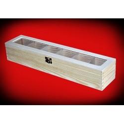 Podłużne pudełko sześć komór z okienkiem